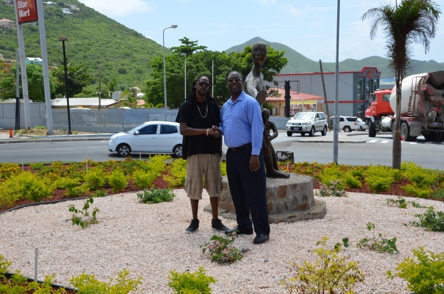 L to R, Entrepreneur and business owner of Spaceless Gardens and Minister Hon. Maurice Lake.